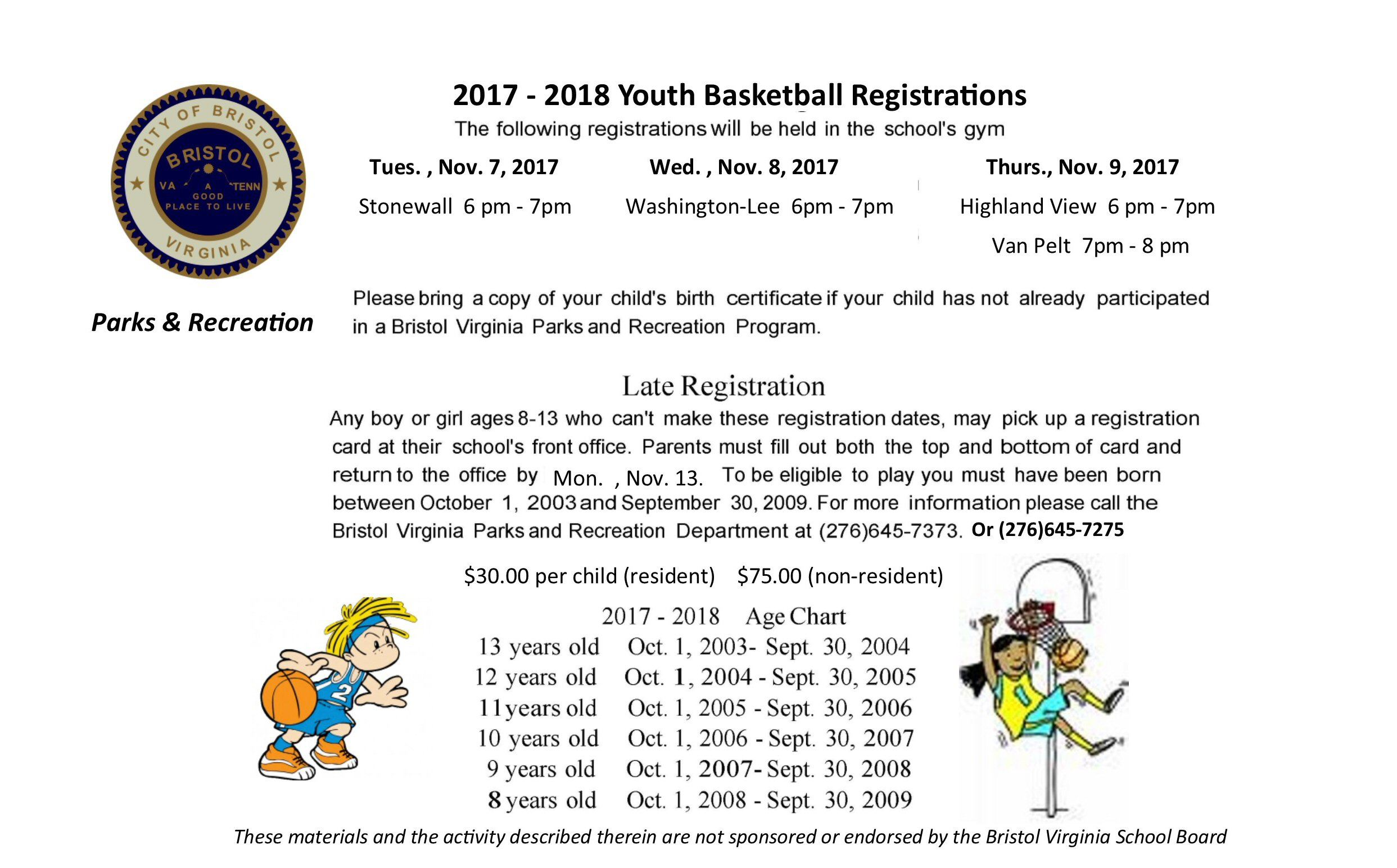 Basketball Registration 2017-2018