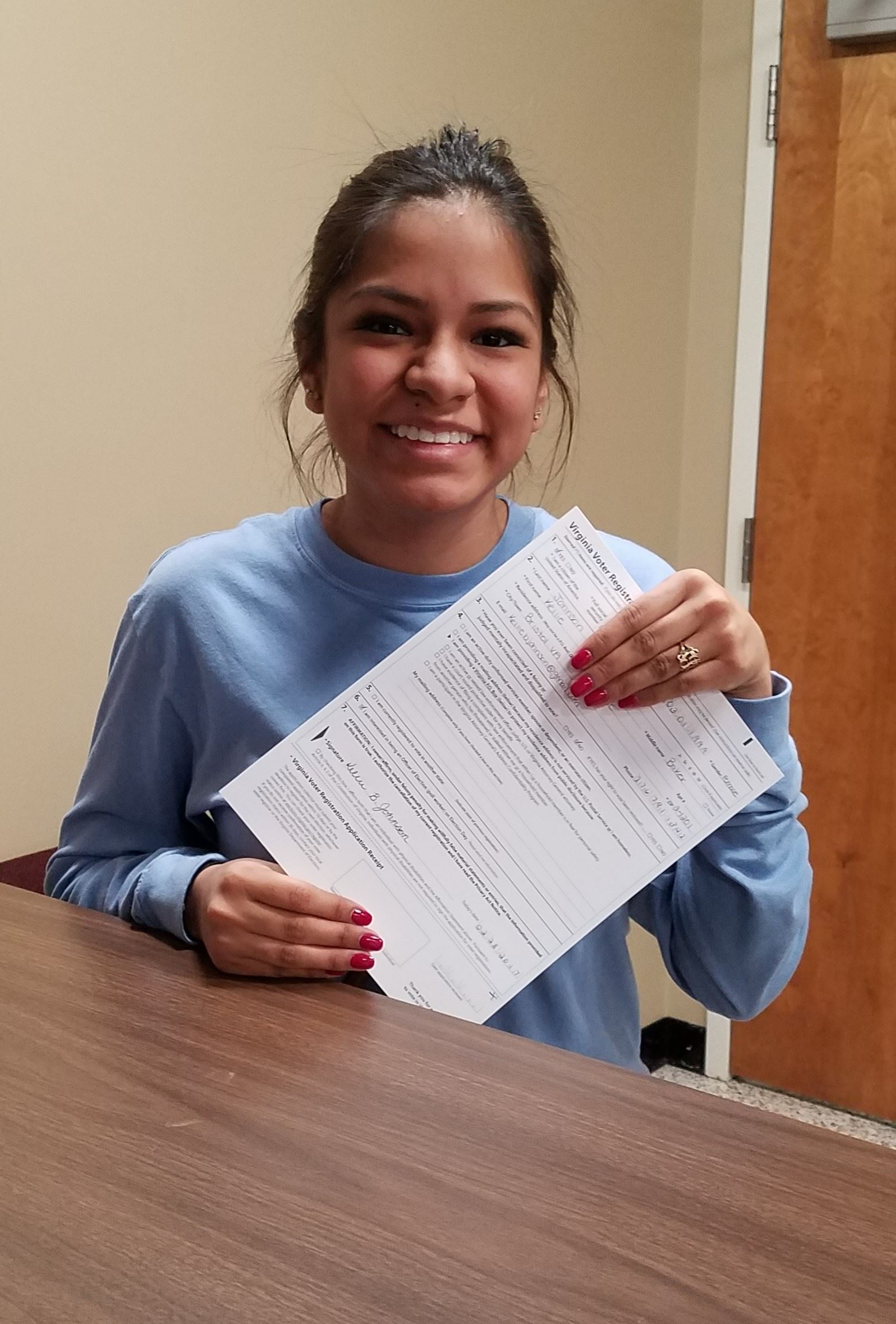On her 18th Birthday, Kellie Johnson registered to vote!