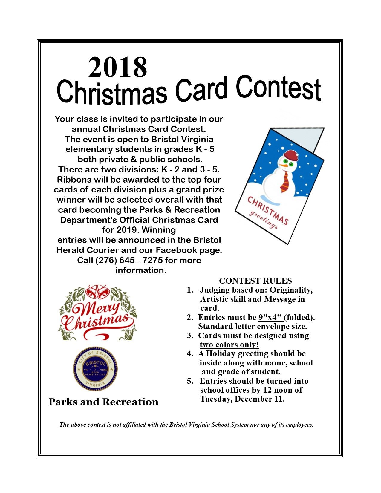 Christmas Card Contest 2018